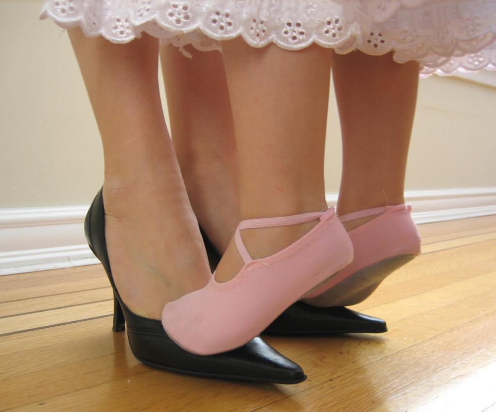 on her feet